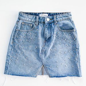 Tobi Denim Studded Mini Denim Jean Skirt